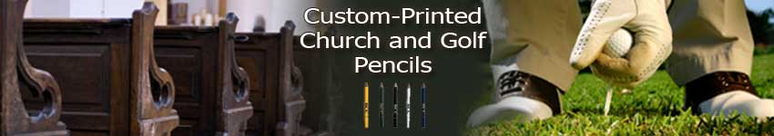 Custom Printed Golf pencils for golf, church, lotteries, surveys